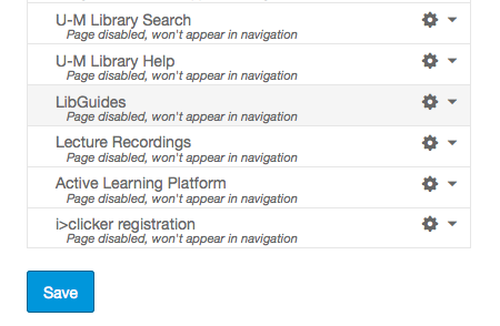 Screen shot of Canvas' course navigation options