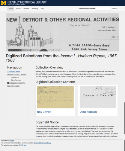 Collection image of Digitized Selections from the Joseph L. Hudson Papers, 1967-1983