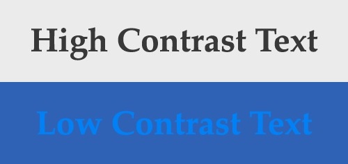 Illustration of the difference between high and low contrast text.