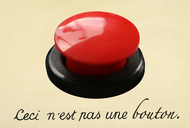 "A photoshopped version of a Magritte painting with an image of a button and the words, ""Ceci n'est pas une bouton""."