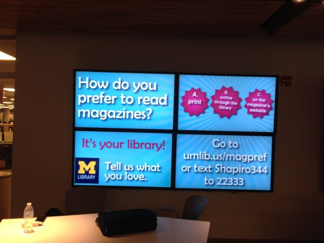 Online polling display at the Shapiro Library Lobby