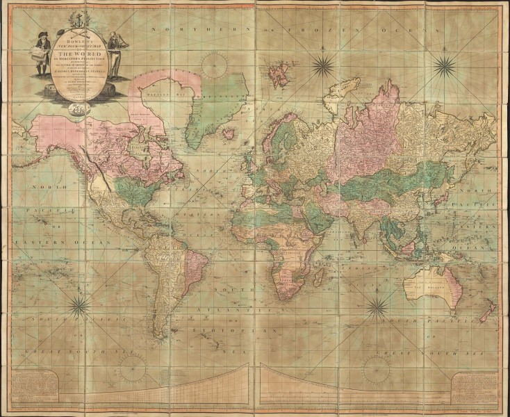 early 19th c. map of the world, with the continents in pastel pinks, greens, and yellow