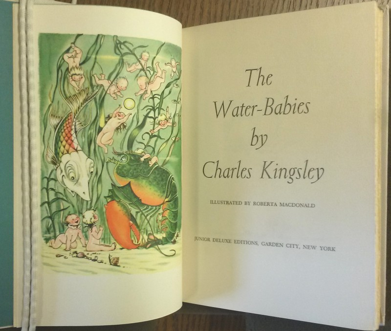 Frontispiece. Water babies playing in the ocean with sea creatures