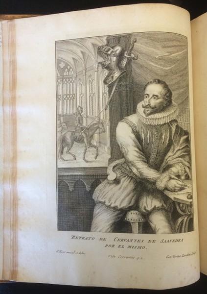 Portrait of Miguel de Cervantes by William Kent, copperplate engraving, in Vida y hechos del ingenioso don Quixote de la Mancha (Londres: J. y R. Tonson, 1738)