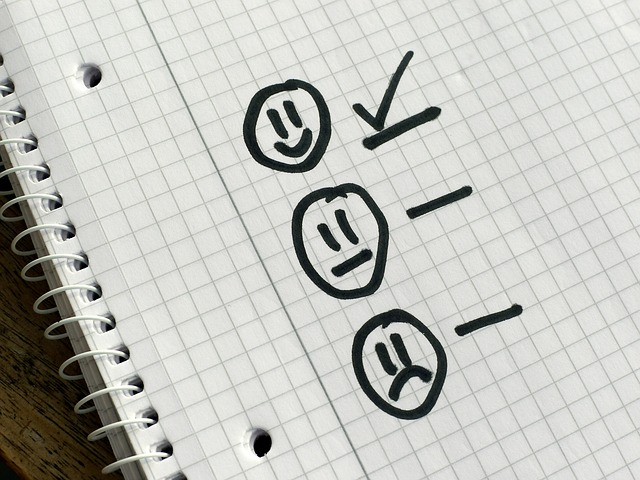 happy face with a check mark next to it followed by a neutral and sad faces