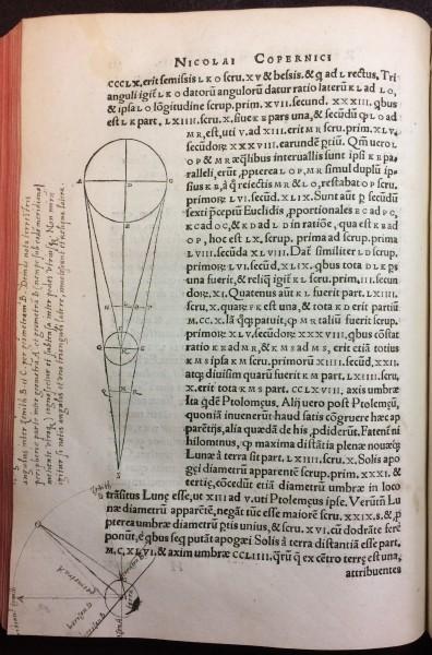 Folio 121v fromNicolaus Copernicus (1473-1543). Nicolai Copernici Torinensis de revolutionibus orbium coelestium, Libri VI (Nuremberg: Johannes Petreius, 1543)
