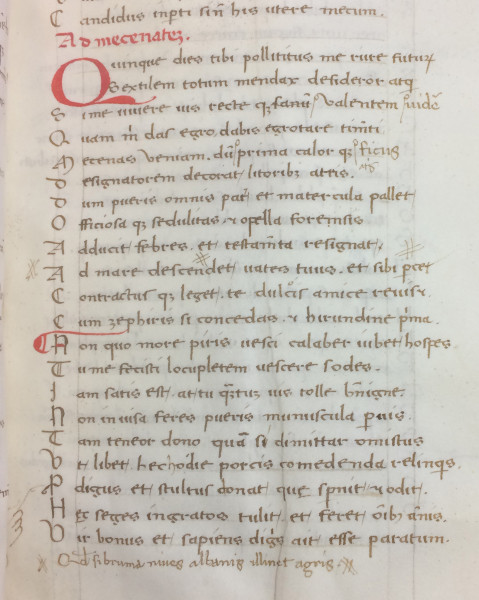Folio 16r from Mich. Ms. 160. Horace (65-8 BC). Ars Poetica & Epistulae. Parchment. Italy. 15th c. Examples of additions and corrections, very probably added  by the scribe who copied this manuscript