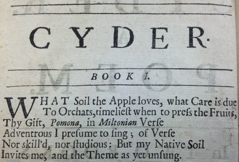 Opening lines of an 18th century poem about cider