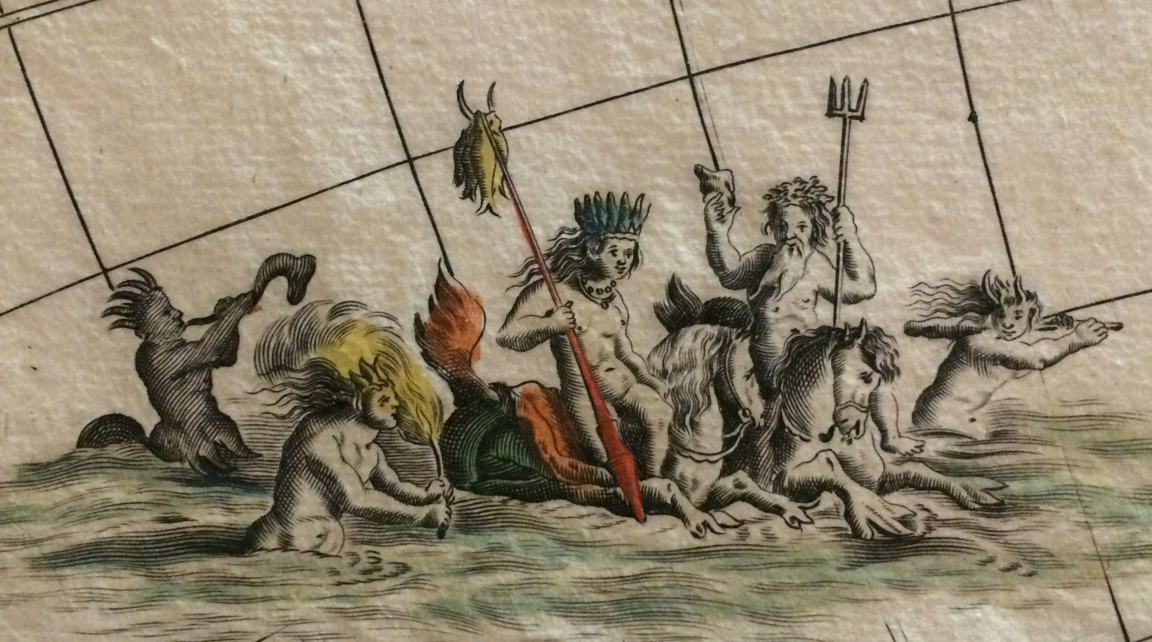 Image of hand-colored illustration on rare map