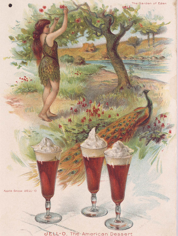 Image of Eve picking an apple from a Jell-O advertisement