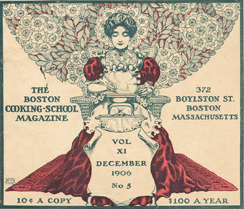 The cover of an issue of the Boston Cooking School Magazine: the stylized figure of a woman in a red gown cooing over  achafing dish