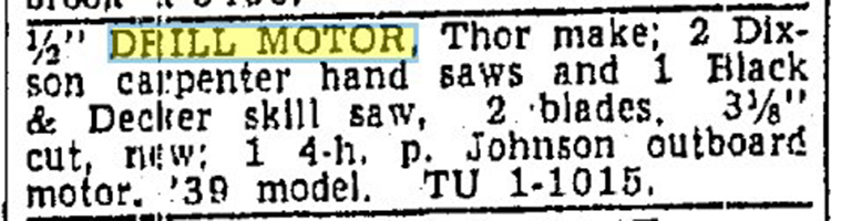 Drill motor caption in a newspaper