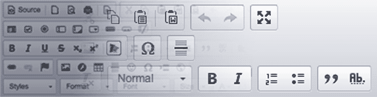 A comparison between a text editor filled with buttons and one with far fewer options.