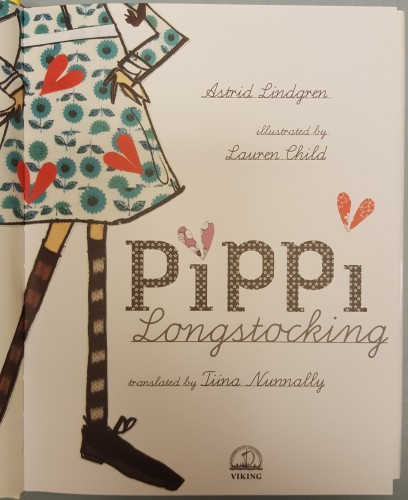 Title page illustrated by a girl in striped knee socks and a red and blue flowered dress (neck-down only)