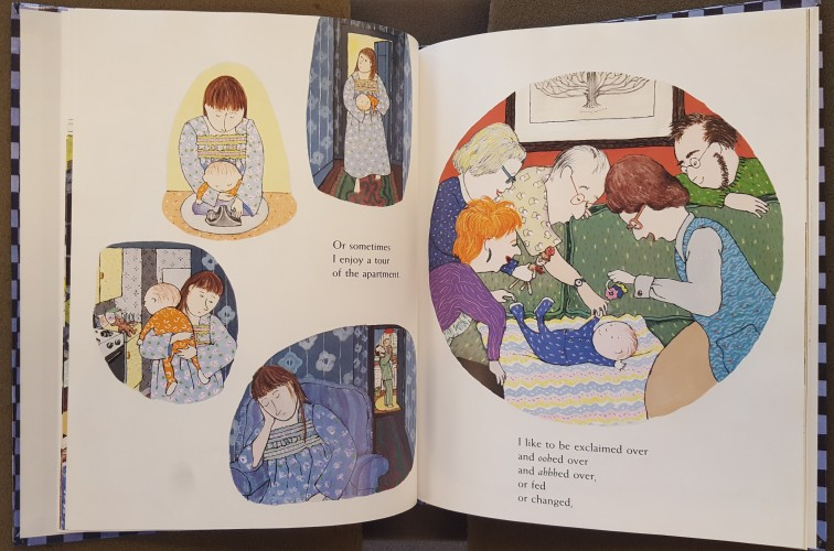 Pagespread showing vignettes of baby doing various activities with family