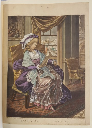 Woman in 18th c. dress reading a sheet of paper in a chair, in a richly furnished home. View of a snowy day outside.