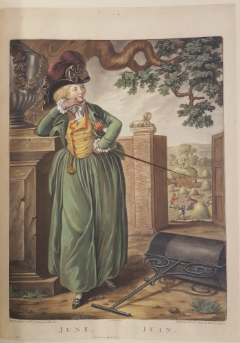 Woman in hunting dress (18th c.) outside.