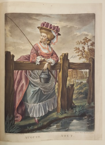 Woman leaning on a fence next to a pond, with a fishing pole in hand.