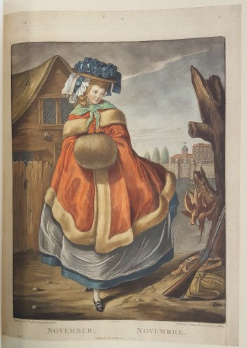 Woman in 18th c. dress, with a billowing cloak outside. Gun and dead birds in lower right corner.