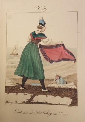 Woman beating a rug