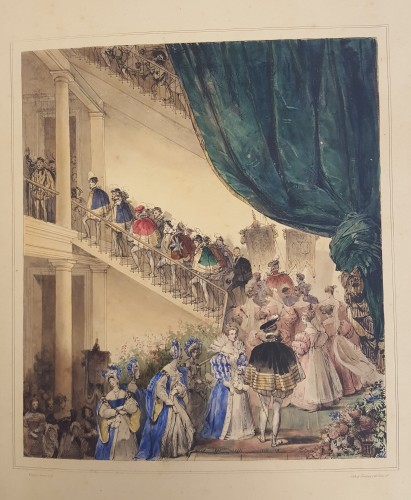 Illustration of a large crowd ascending a staircase at the ball depicted in this book.
