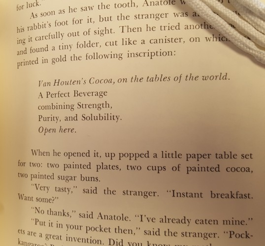 Published page of Sailing to Cythera showing the advertising jingle from the draft with minor editions. First line now reads: Van Houten's cocoa, on the tables of the world. And an additional last line reads: Open here.