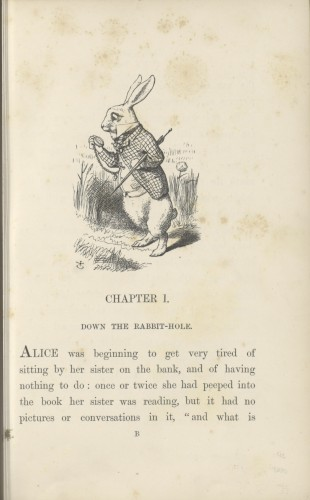 The first page of the 1865 edition of Alice's Adventures in Wonderland, showing a picture of the white rabbit and the first few sentences of the story.