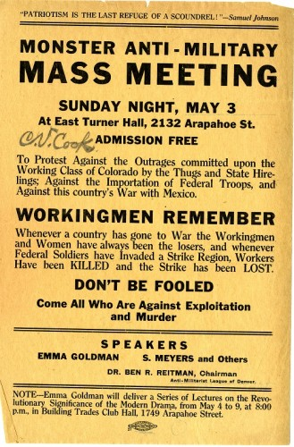 "Tan colored flyer reading ""Anti-Military Monster Mass Meeting"""