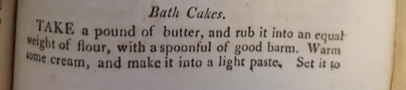 Text of Bath Cakes recipe part I. Text reproduced below second (following) image.