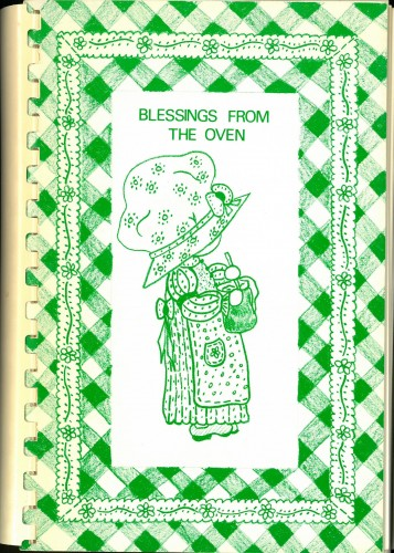 Cover of Blessings from the Oven, showing stock line drawing of female figure in large hat with a bowl