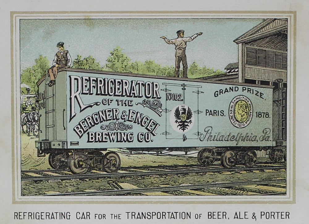 Illustration of a refrigerated railroad car used for shipping beer in the the late nineteenth century