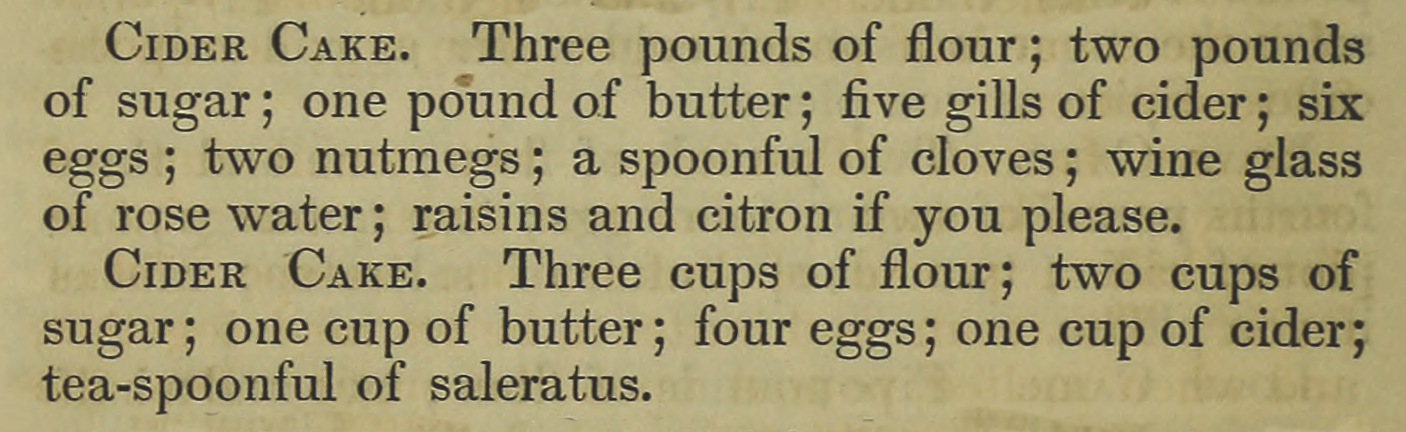 Cider Cake recipes from The American Matron - 1851