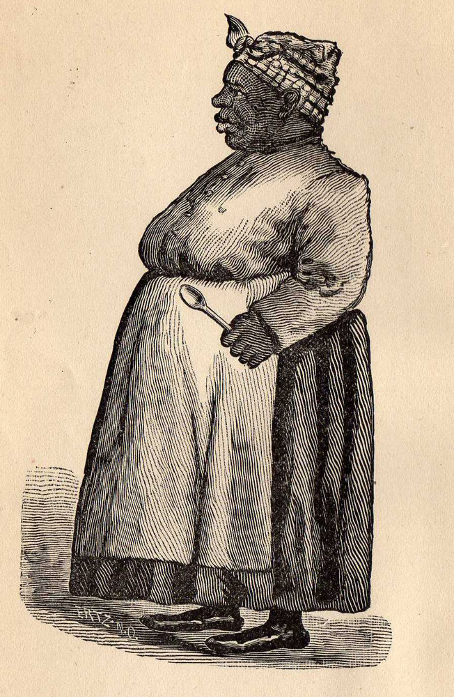 Illustration of a caricature of an African-American woman in an apron and head scarf