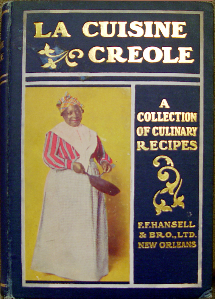 Ornate book cover, blue with gold lettering, and a picture of an African-American woman with a frying pan