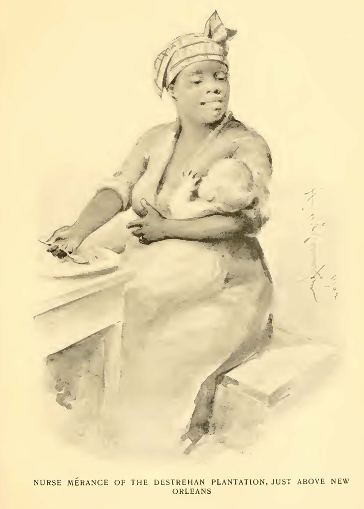 Illustration of an African-American woman nursing a child