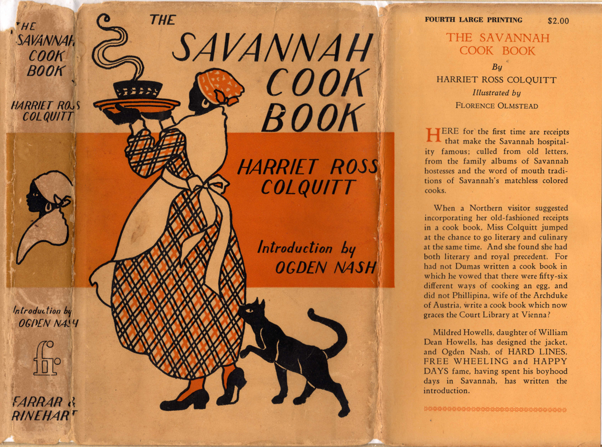 Book jacket with an orange and black illustration of an African-American woman in an apron and head scarf carrying a dish