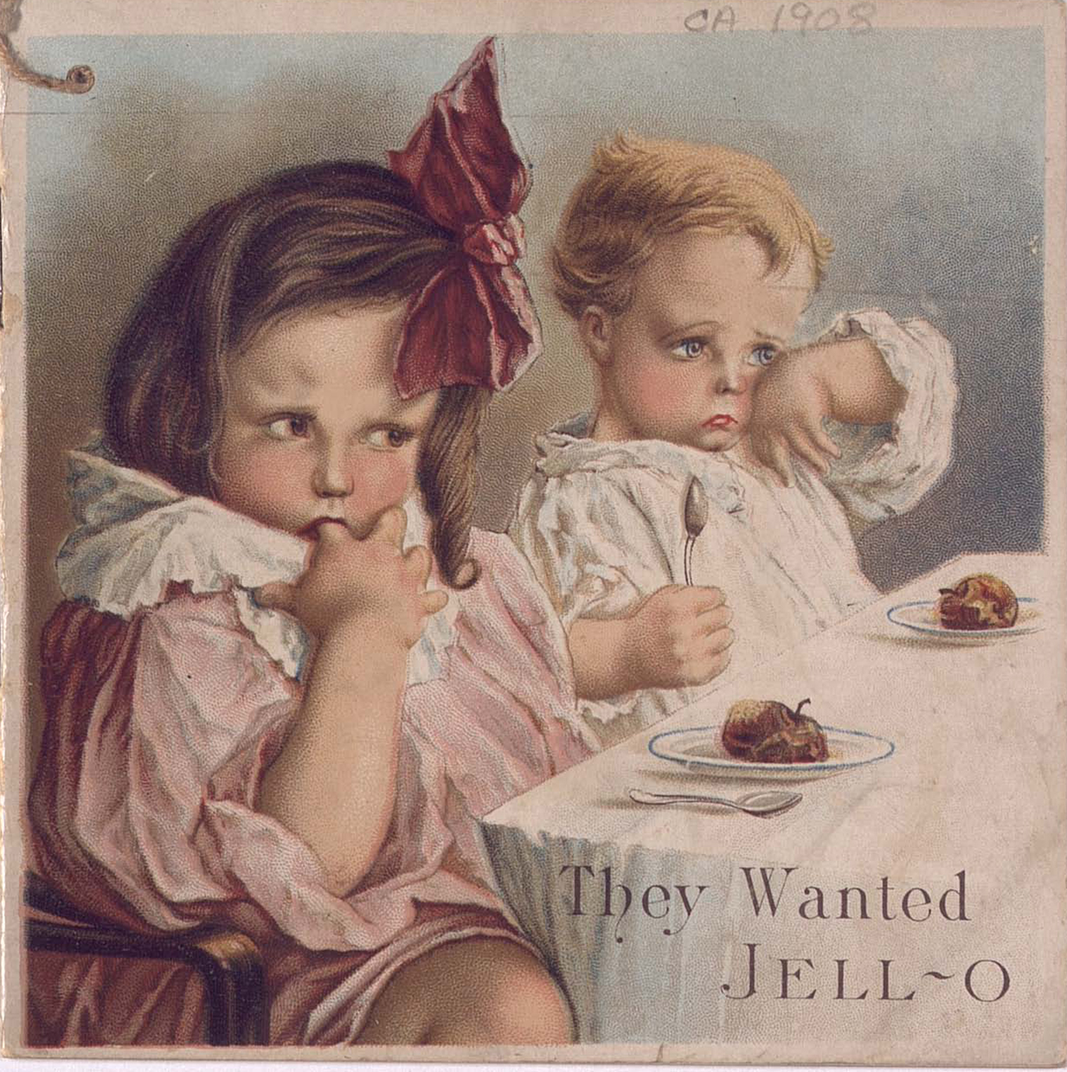 Two children at a table with spoons in their hands, crying because they want Jell-O
