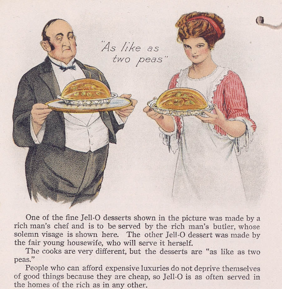 A butler and a housewife holding identical Jell-O molds