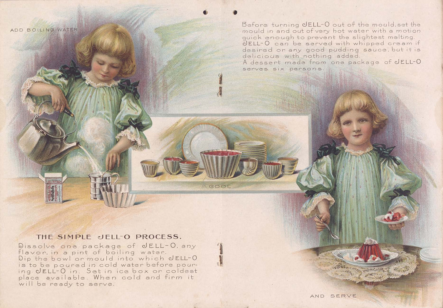 Miss Jell-O, a girl in a puffy dress, making a red jell-o mold