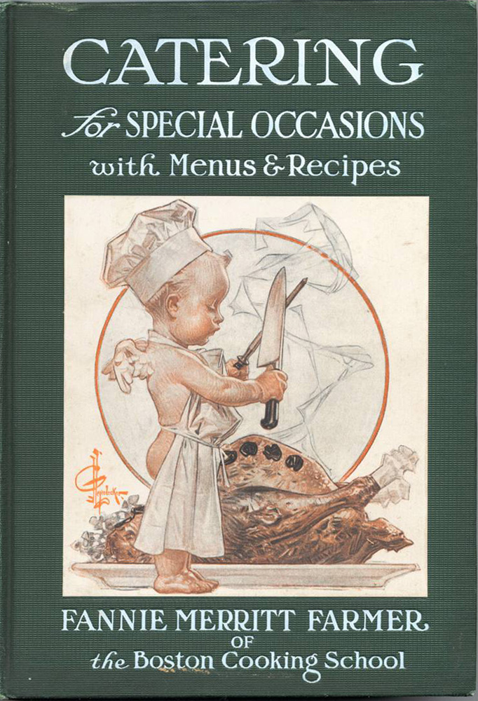 A winged cherub wearing a chef's hat, sharpening a carving knife in front of a roast turkey