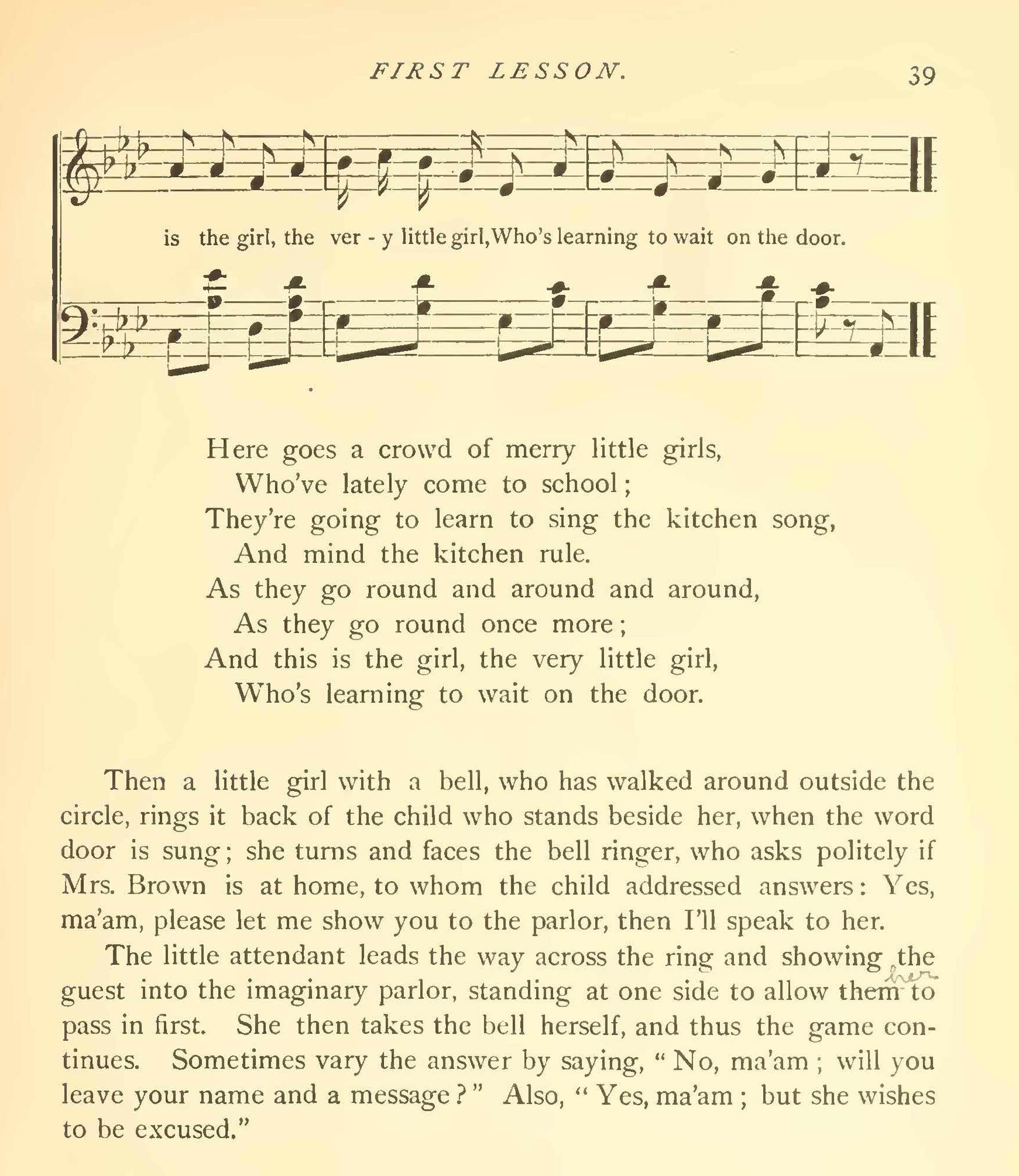 "The text of a song and a lesson called ""Waiting on the Door"""