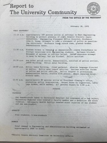 First page of Report to the University Community from the Office of the President, 1970