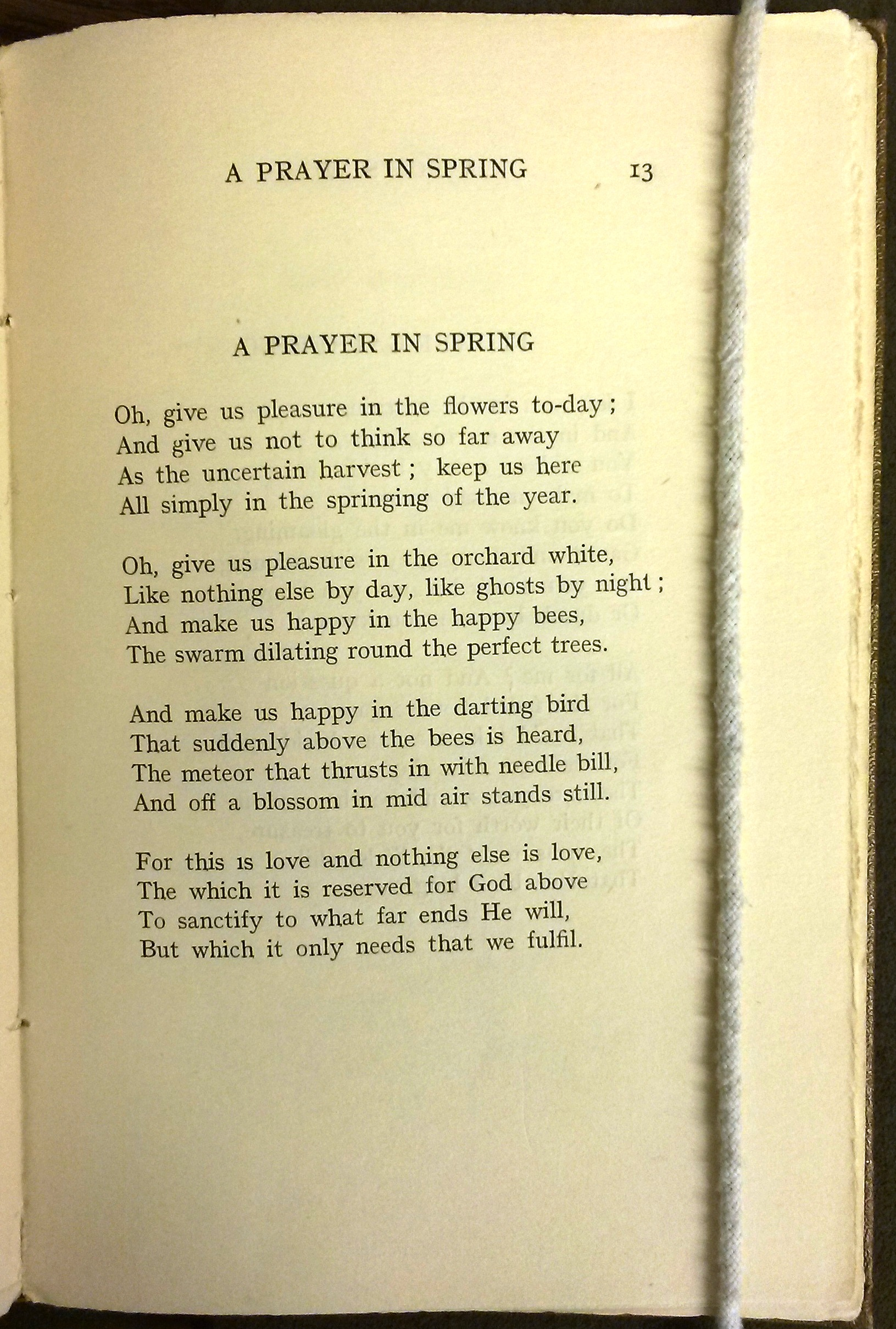 "Text of ""A Prayer in Spring"""