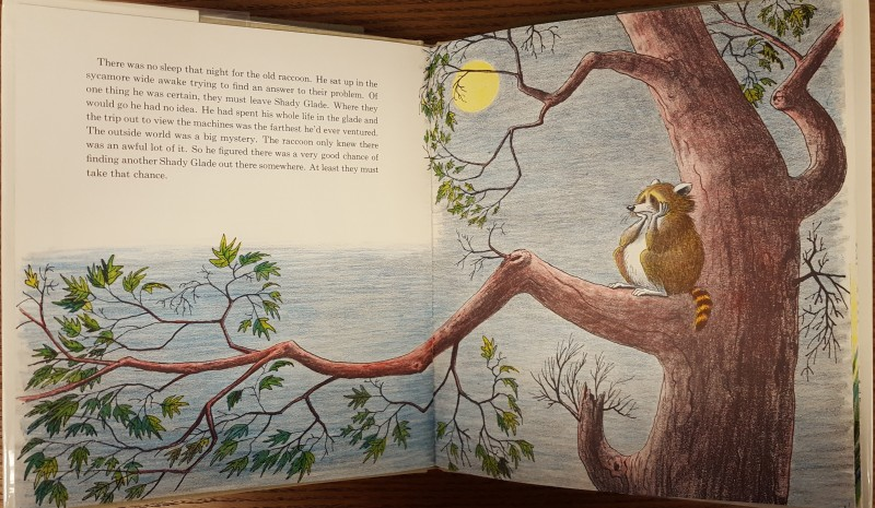 Pagespread of a raccoon sitting in a tree under a night sky