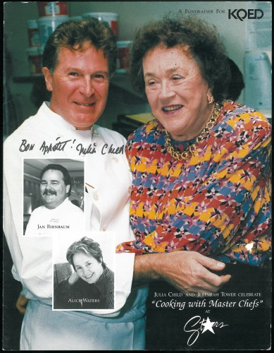 Jeremiah Tower photographed with Julia Child for a fundraiser menu
