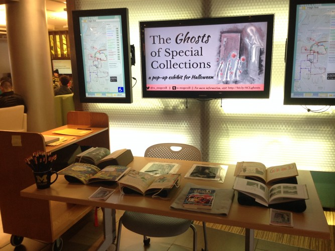 Halloween pop-up exhibit featuring books about ghosts