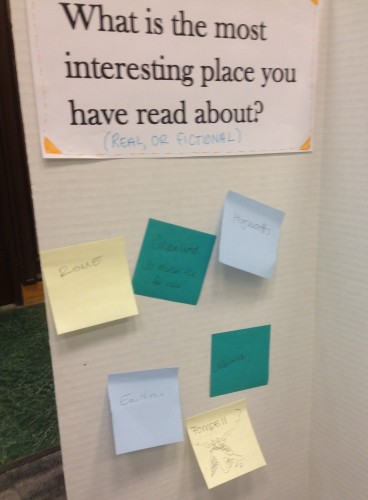 "visitors' responses to the question ""what is your favorite place you have read about?"""