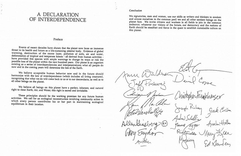 First and last page of the Declaration of Interdependence (1990), with the last page showing signatures of participants, including David Cope, Anne Waldman, Gary Snyder, and others.