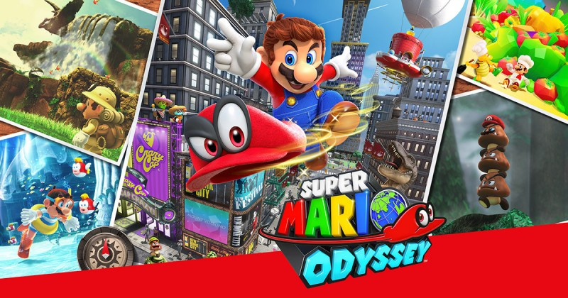 "The cover art for the game ""Super Mario Odyssey"" show the main character, Mario, in his standard denim overalls, brown shoes, and red undershirt, tossing a red cap with eyes forward. Around them are various locales from the game, including a city, a jungle, and an underwater area"