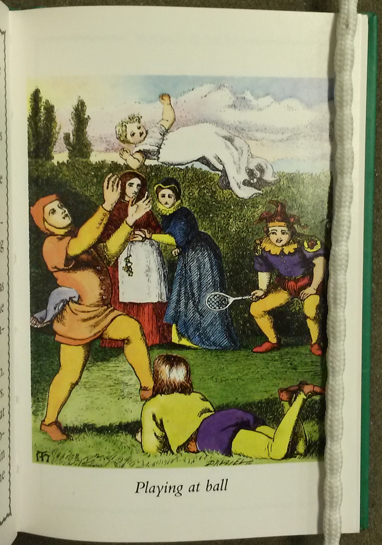 Illustration of the servants playing ball with the princess as the ball.